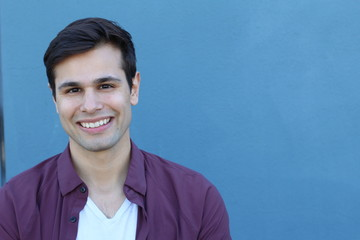 Man with the PERFECT SMILE with copy space on the right side of the image for adding text