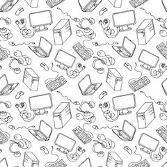 computer, laptop, gadget hand drawn seamless pattern