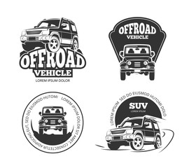 Suv pickup retro vector emblems, logos, badges and labels. Vehicle suv offroad, auto suv pickup, transport suv car label illustration