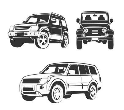 Vector elements for off-road suv car emblems, labels and badges. Car suv vehicle, transportation suv car, design transport suv car illustration