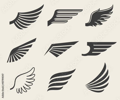 wings vector icons set wing set icon wing feather wing bird rh fotolia com free pilot wings vector free vector bird wings