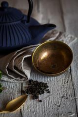 Glass with herbal tea