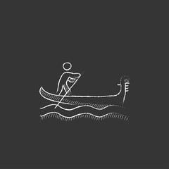 Sailor rowing boat. Drawn in chalk icon.