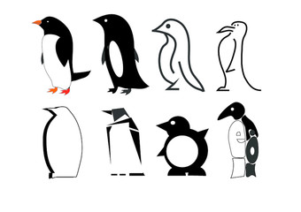 Black and white styling penguins