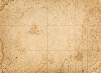 Fototapete - old nautical treasure map background