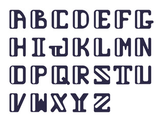Bold alphabet of capital Latin letters sans serif. Vector set of letters for design.