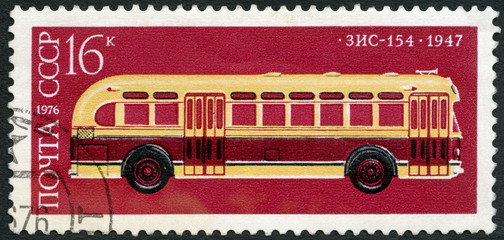 USSR - 1976: shows ZIS-154 Moscow Motor Works bus, 1947