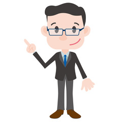 middle aged business person cartoon character pointing hand sign clip art
