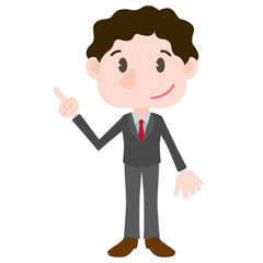 young business person cartoon character pointing hand sign clip art