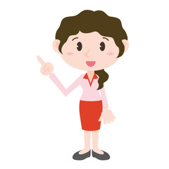 young woman cartoon character pointing hand sign clip art