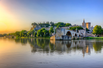 The Pont Saint Benezet and the Palais des Papes in Avignon, South France Wall mural