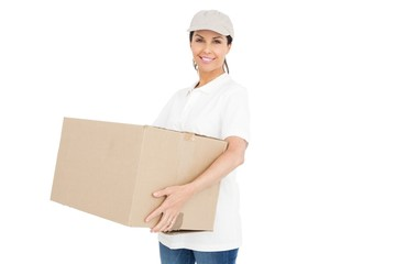 Delivery woman carrying a package