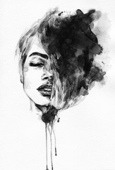 Autocollant pour porte Portrait Aquarelle Woman face. Fashion illustration