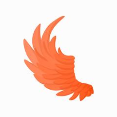 Orange wing icon, cartoon style