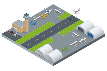 Isometric Airport building. Airport building with runway. Airport field. Flat 3d vector isometric illustration.