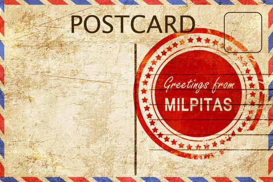 milpitas stamp on a vintage, old postcard