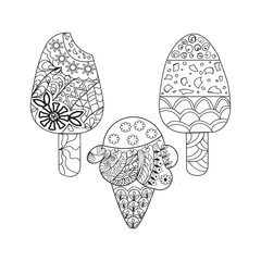 Vector set ice cream for coloring book for adult