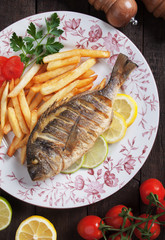 Grilled fish fith french fries