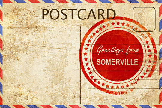 somerville stamp on a vintage, old postcard