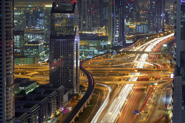 Dubai Downtown Rush Hour Aerial View