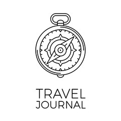 Retro thin line travel illustration. Outline vintage journey symbol. Simple mono linear tour logo. Stroke vector expedition concept on white background