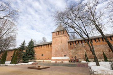 Kremlin wall in Smolensk, eternal flame.
