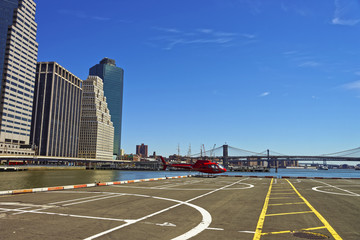 Helicopter and helicopter pad in Lower Manhattan in New York