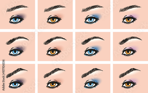 Set Of Female Eye With Diffe Forms Eyebrows Types Make Up