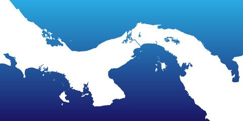 Karte von Panama - Blau/Weiß