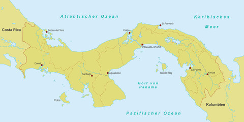 Karte von Panama - Orange (detailliert)
