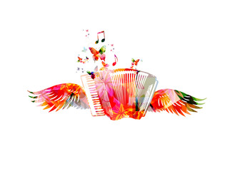 Colorful accordion with wings