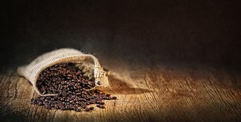 Poster Salle de cafe grains de café