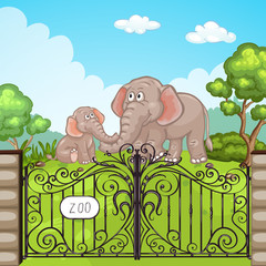 Illustration of a elephant at Zoo