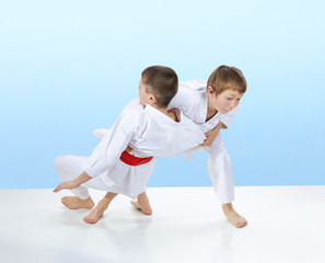 Judo throws are training two athletes