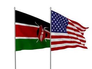 USA and Kenya flags waving in the wind / Flags of countries