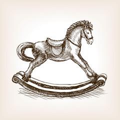 Vintage rocking horse sketch vector illustration