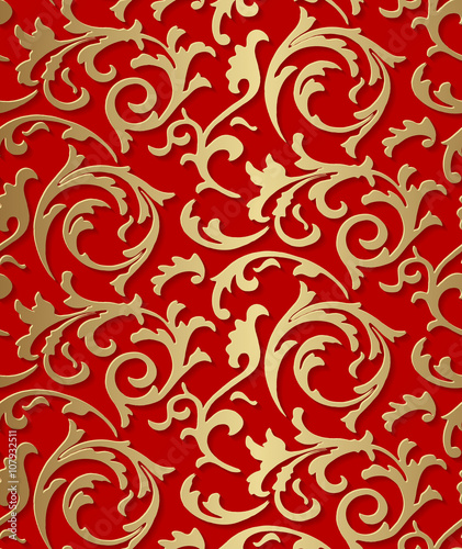 """Vector baroque seamless damask golden floral texture"