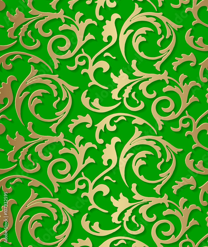 Quot Seamless Damask Baroque Golden Pattern On Green