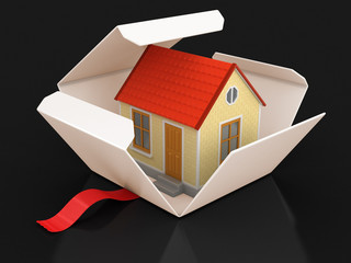 Open package with house. Image with clipping path