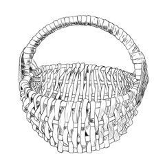 Vector sketch of wicker basket