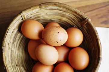 Organic raw eggs in wood basket. Eggs in basket. Hen eggs. Fresh organic eggs in basket.