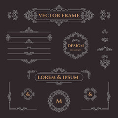 Set of decorative  borders, frames, corners and monograms. Template signage, logos, labels, stickers, cards. Graphic design page. Floral borders. Classic design elements.