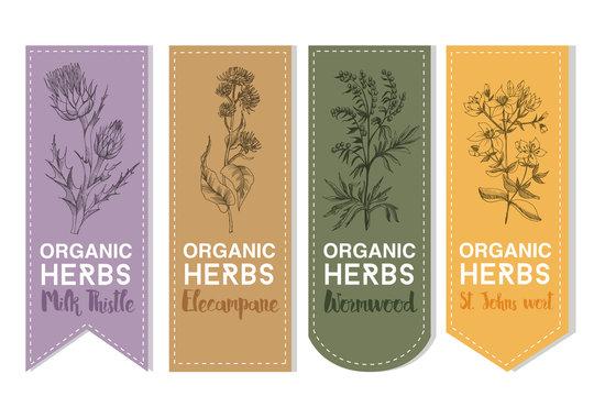 Organic herbs label of Milk thistle elecampane wormwood st.johns wort