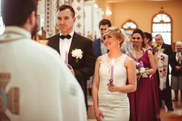 wonderful beautiful happy people get married in church