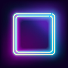Neon square. Neon blue light. Vector electric frame. Vintage frame. Retro neon lamp. Space for text. Glowing neon background. Abstract electric background. Neon sign square. Glowing electric frame