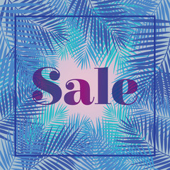 Palm leaf. Sale. Web banner or poster for e-commerce, on-line co