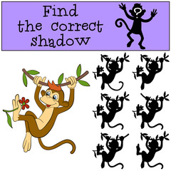 Children games: Find the correct shadow. Little cute monkey hangs on the liana and holds the flower in the leg.