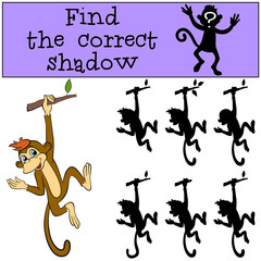 Children games: Find the correct shadow. Little cute monkey hangs on the tree and waves.