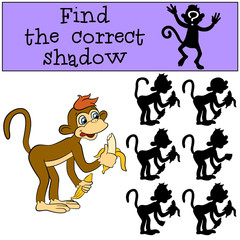 Children games: Find the correct shadow. Little cute monkey holds bananas in the hands.