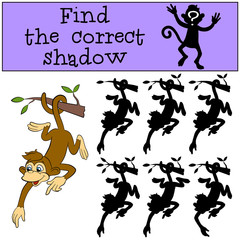 Children games: Find the correct shadow. Little cute monkey hangs on the tree.